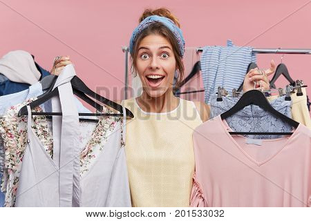 People, Happiness, Shopping, Purchase Concept. Beautiful Woman Having Good Mood While Holding Many H