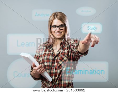 Young Attractive Woman Hold Book