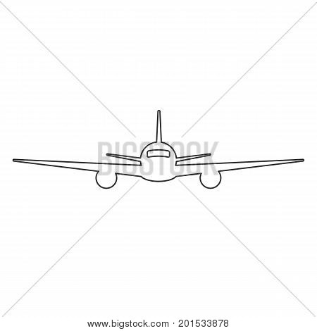 Black outline isolated airplane on white background. Line front view of aeroplane