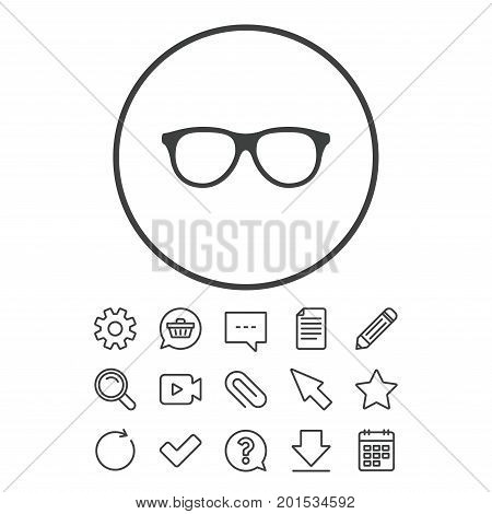 Retro glasses sign icon. Eyeglass frame symbol. Document, Chat and Paper clip line signs. Question, Pencil and Calendar line icons. Star, Download and Shopping cart. Vector