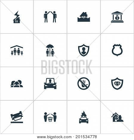 Elements Protection, Job Accord, Prohibited And Other Synonyms Sheriff, Bank And Roof.  Vector Illustration Set Of Simple Fuse Icons.