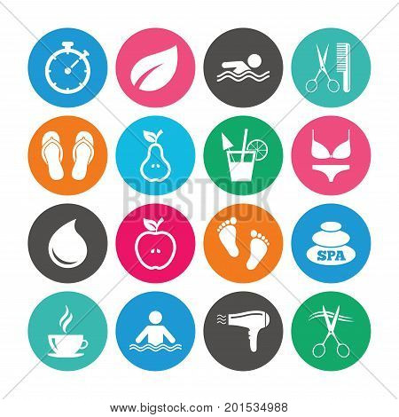 Set of Swimming pool, Spa and Hairdressing icons. Coffee, Cocktail and Apple signs. Water drop, Scissors and Hairdryer symbols. Colored circle buttons with flat signs. Vector