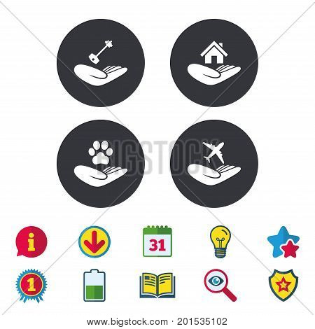 Helping hands icons. Shelter for dogs symbol. Home house or real estate and key signs. Flight trip insurance. Calendar, Information and Download signs. Stars, Award and Book icons. Vector
