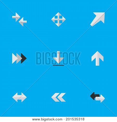 Elements Southwestward, Export, Everyway And Other Synonyms Upward, Back And Backward.  Vector Illustration Set Of Simple Cursor Icons.