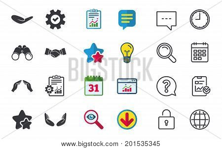 Hand icons. Handshake successful business symbol. Insurance protection sign. Human helping donation hand. Prayer meditation hands. Chat, Report and Calendar signs. Stars, Statistics and Download icons