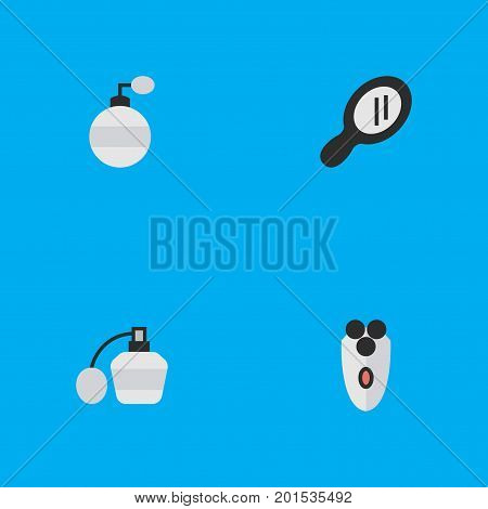 Elements Fragrance, Shaving Machine, Glass And Other Synonyms Shaving, Speculum And Mirror.  Vector Illustration Set Of Simple Shop Icons.