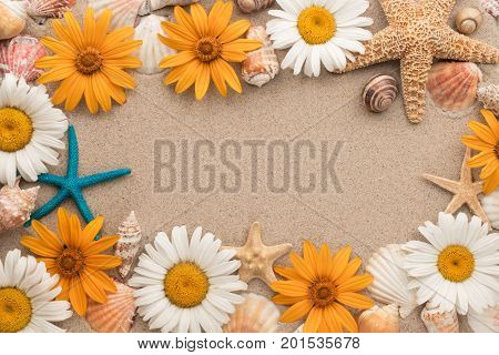 Beautiful frame consists of flowers sea stars sea shells lying on the sand. View from above