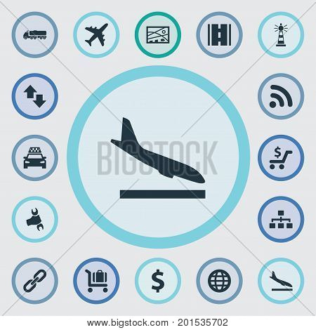 Elements Opposite Arrows, Beacon, Wifi Area And Other Synonyms Opposite, Arrival And Globe.  Vector Illustration Set Of Simple Infrastructure Icons.