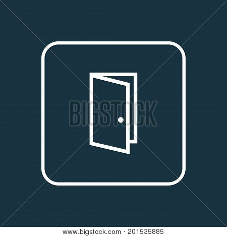 Premium Quality Isolated Door Element In Trendy Style.  Entrance Outline Symbol.