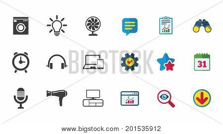 Home appliances, device icons. Ventilator sign. Hairdryer, washing machine and lamp symbols. Calendar, Report and Download signs. Stars, Service and Search icons. Statistics, Binoculars and Chat