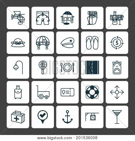 Travel Icons Set. Collection Of Freight Trolley, Trip Handbag, Pin Elements