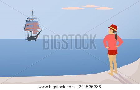 Vector illustration of a girl meeting a ship with scarlet sails