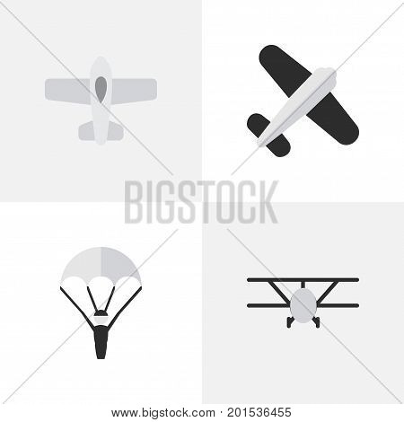 Elements Airplane, Plane, Aviation And Other Synonyms Catapults, Man And Aviation.  Vector Illustration Set Of Simple Aircraft Icons.