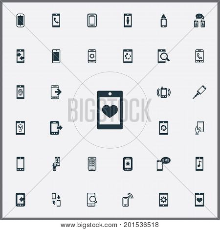 Elements Search, Outgoing Calls, Synchronization And Other Synonyms Incoming, Settings And Transfer.  Vector Illustration Set Of Simple Telephone Icons.