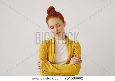 Waist Up Portrait Of Gorgeous Young Caucasian Woman With Delicate Features And Ginger Hair Looking D