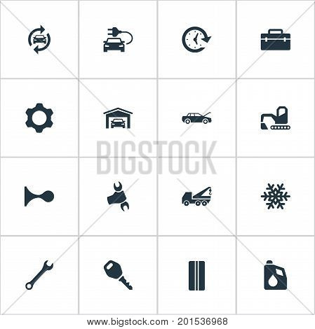 Elements Workshop, Toolbox, Fuel And Other Synonyms Wheel, Winter And Vehicle.  Vector Illustration Set Of Simple Vehicle Icons.