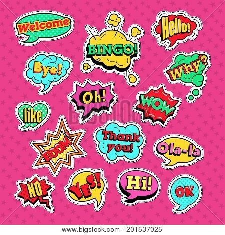 Comic Speech Bubbles Set for Badges and Patches. Communication Dialog Shapes. Vector illustration