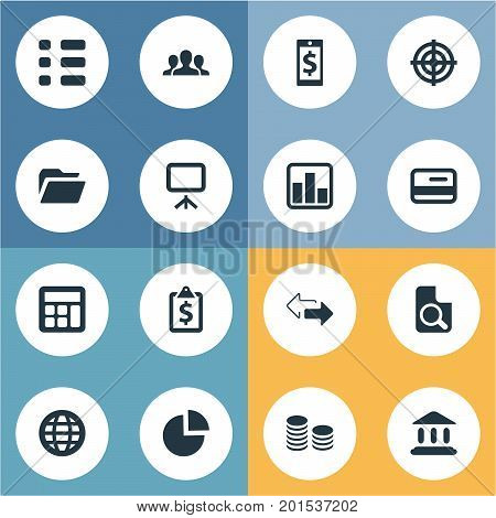 Elements Line Chart, Task, Court And Other Synonyms Mobile, Global And Search.  Vector Illustration Set Of Simple Finance Icons.
