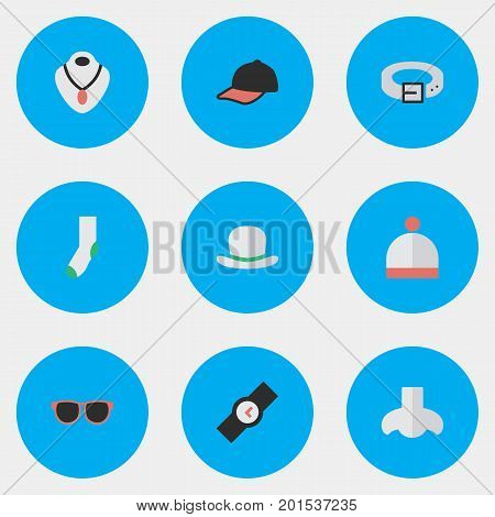 Elements Sport Hat, Sock, Glasses And Other Synonyms Watch, Winter And Sock.  Vector Illustration Set Of Simple Accessories Icons.