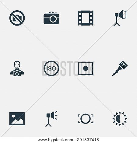 Elements Light Level, Flame Instrument, Film Strip And Other Synonyms Lustre, Photo And Cine-Film.  Vector Illustration Set Of Simple Photographic Icons.