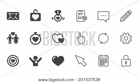 Love, valentine day icons. Target with heart, oath letter and locker symbols. Couple lovers, boyfriend signs. Chat, Report and Calendar line signs. Service, Pencil and Locker icons. Vector
