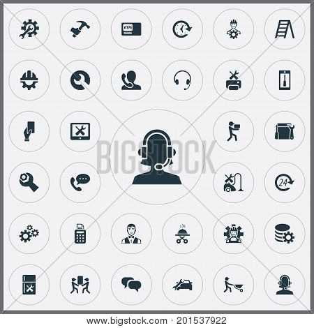Elements Chatting, Smartphone, Automobile Salon And Other Synonyms Tool, Renewal And Serving.  Vector Illustration Set Of Simple Service Icons.