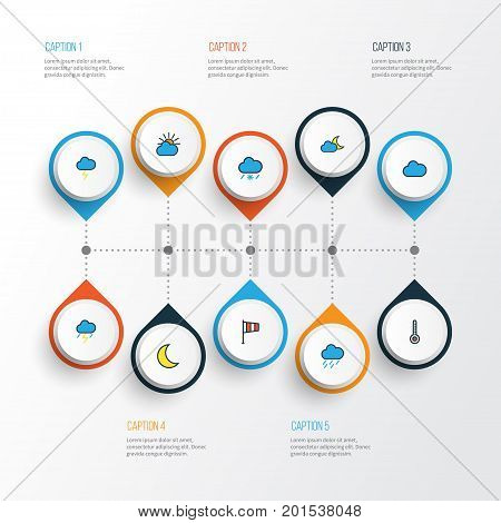 Air Colorful Outline Icons Set. Collection Of Clouded, Twilight, Cloudburst And Other Elements