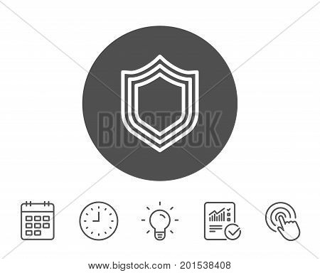 Shield line icon. Protection or Security sign. Defence or Guard symbol. Report, Clock and Calendar line signs. Light bulb and Click icons. Editable stroke. Vector