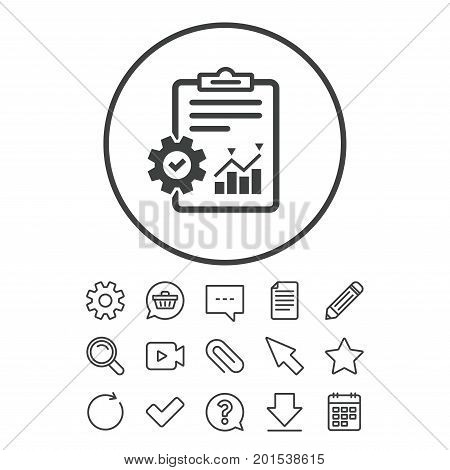 Project management icon. Report document with cogwheel symbol. File with charts symbol. Document, Chat and Paper clip line signs. Question, Pencil and Calendar line icons. Vector