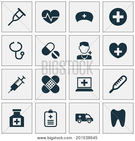 Medicine Icons Set. Collection Of Beating, Plus, Stand Elements