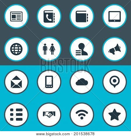 Elements Web Cloud, Cellphone, Palmtop And Other Synonyms World, Cellphone And Smartphone.  Vector Illustration Set Of Simple Communication Icons.