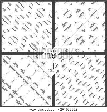 Set of vector seamless pattern. Collection of modern geometrical textures with regularly repetition linear rhombuses waves zigzags hexagons. Trendy thin line style