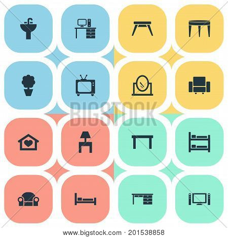 Elements Trestle, Contemporary Design, Tv And Other Synonyms Settee, Couch And Board.  Vector Illustration Set Of Simple Furnishings Icons.