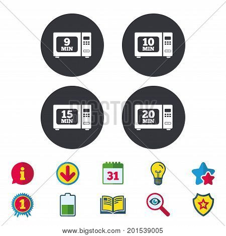 Microwave oven icons. Cook in electric stove symbols. Heat 9, 10, 15 and 20 minutes signs. Calendar, Information and Download signs. Stars, Award and Book icons. Light bulb, Shield and Search. Vector