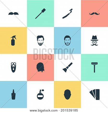Elements Aerosol, Cosmetic Bottle, Utencil And Other Synonyms Handle, Face And Man.  Vector Illustration Set Of Simple Barber Icons.
