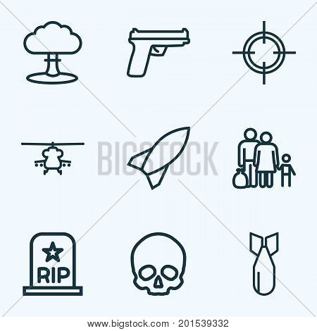 Battle Outline Icons Set. Collection Of Rip, Atomic Bomb, Military And Other Elements