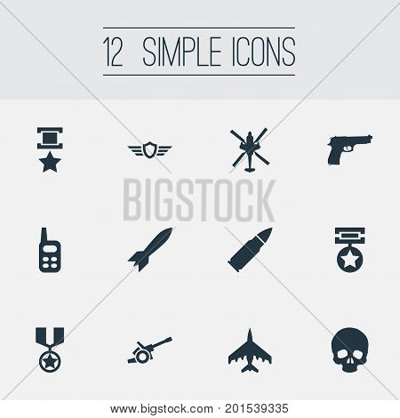 Elements Medal, Award, War-Plane And Other Synonyms Orden, War-Plane And Rocket.  Vector Illustration Set Of Simple Battle Icons.