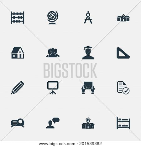 Elements Speech, Presentation Board, Projector And Other Synonyms House, Supplies And Straightedge.  Vector Illustration Set Of Simple Education Icons.