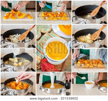 A Step By Step Collage Of Making Pumpkin Soup