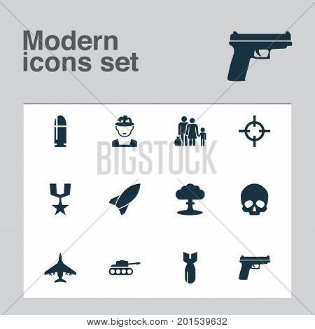 Warfare Icons Set. Collection Of Rocket, Military, weapons And Other Elements