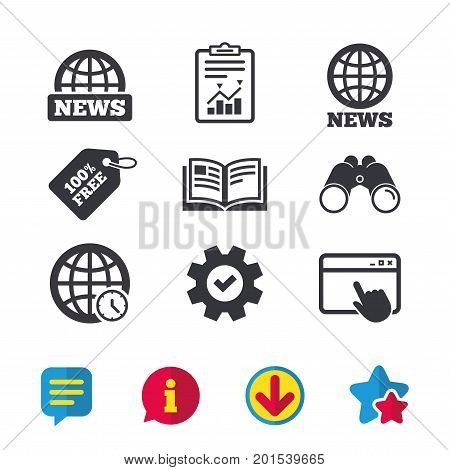 News icons. World globe symbols. Open book sign. Education literature. Browser window, Report and Service signs. Binoculars, Information and Download icons. Stars and Chat. Vector