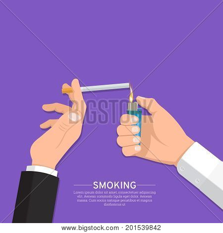 Male hand with the lighter and the smoker's hand with a cigarette.The smoking people.Fight against smoking. Smoking area.No to addictions.Vector illustration with the place for the text.