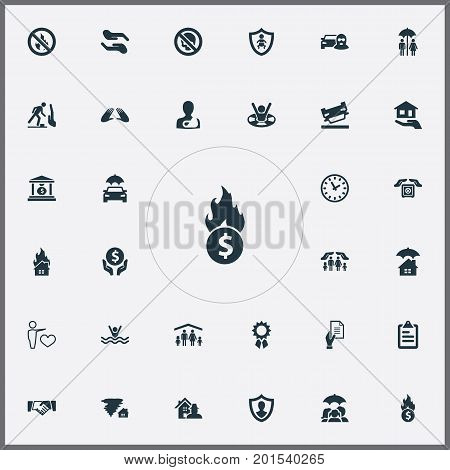Elements Heart, Protection, Real Estate And Other Synonyms Couple, Hurricane And Maintenance.  Vector Illustration Set Of Simple Guarantee Icons.