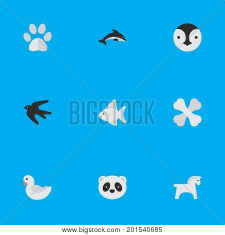 Elements Bear, Steed, Foot And Other Synonyms Steed, Skeleton And Dolphin.  Vector Illustration Set Of Simple Animals Icons.