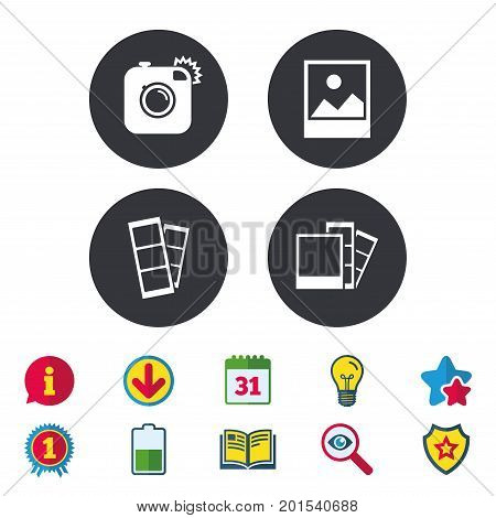 Hipster photo camera icon. Flash light symbol. Photo booth strips sign. Landscape photo frame. Calendar, Information and Download signs. Stars, Award and Book icons. Light bulb, Shield and Search