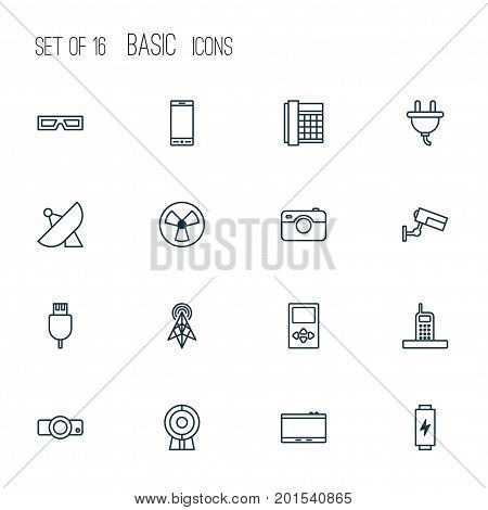 Icons Set. Collection Of Universal Serial Bus, Player, Gadget And Other Elements