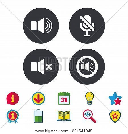 Player control icons. Sound, microphone and mute speaker signs. No sound symbol. Calendar, Information and Download signs. Stars, Award and Book icons. Light bulb, Shield and Search. Vector