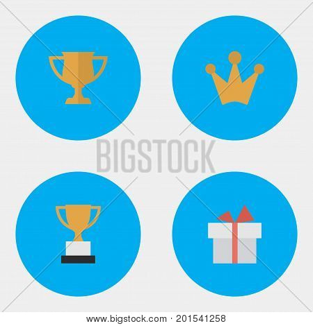 Elements Corona, Present, Goblet And Other Synonyms Cub, Gift And Crown.  Vector Illustration Set Of Simple Achievement Icons.