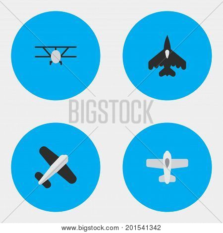 Elements Aviation, Airplane, Flying Vehicle And Other Synonyms Aviation, Flying And Aircraft.  Vector Illustration Set Of Simple Aircraft Icons.