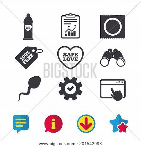 Safe sex love icons. Condom in package symbol. Sperm sign. Fertilization or insemination. Browser window, Report and Service signs. Binoculars, Information and Download icons. Stars and Chat. Vector